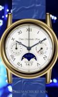 月齢多機能腕時計待受【ラウンド】【シルバー】【ホワイト】