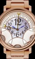 レトログラード腕時計待受【ラウンド】【ゴールド】【秒3針】