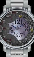 レトログラード腕時計待受【ラウンド】【シルバー】【秒6針】