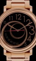 レトログラード腕時計待受【ラウンド】【ゴールド】【秒1針】