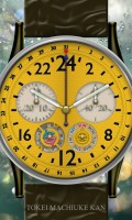 24時間計多機能腕時計待受【ラウンド】【ブラック】【イエロー】