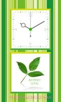 シンプルアナログ時計[グリーン][ホワイト][リーフ]